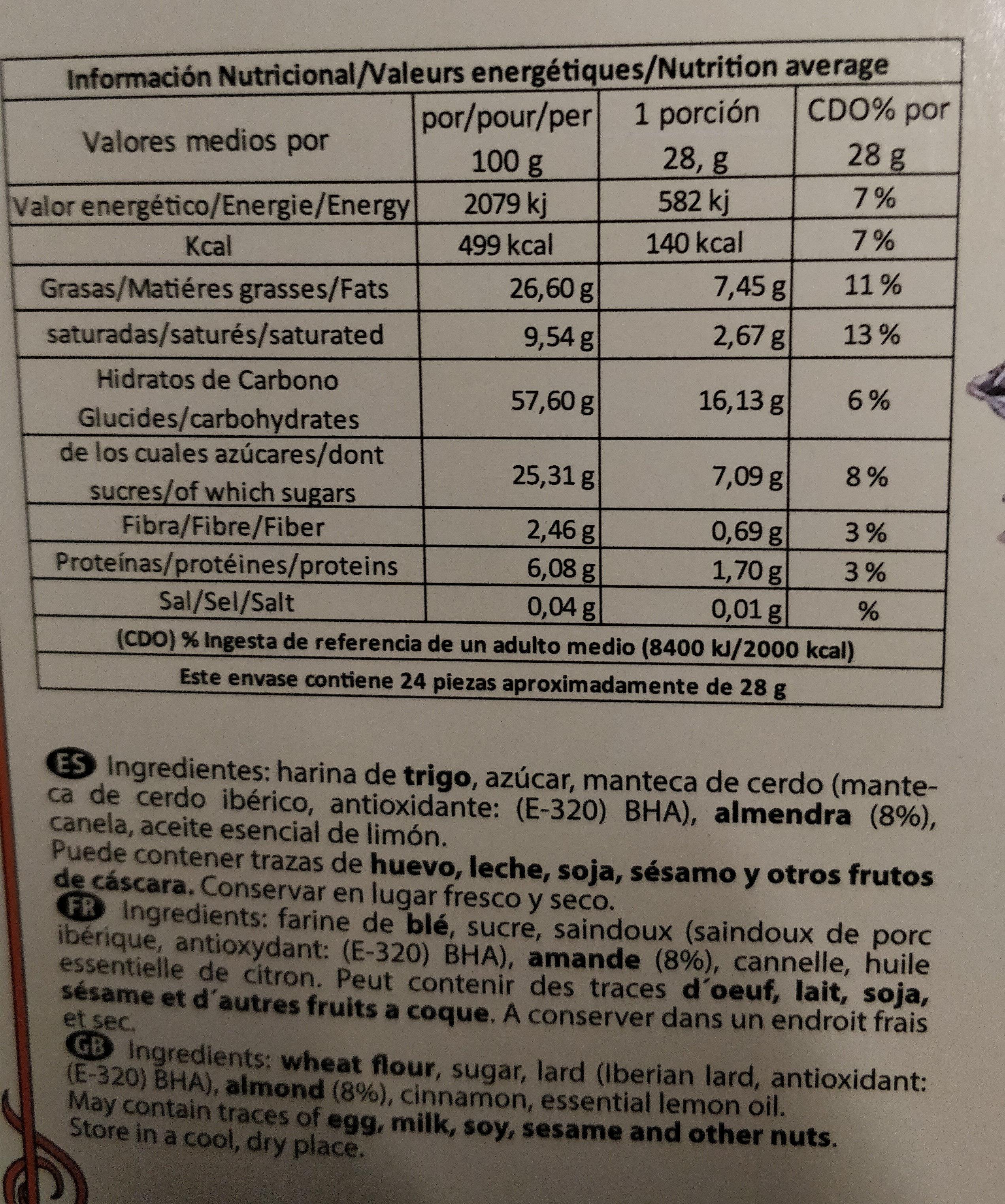Polvoron tradicional - Información nutricional - fr
