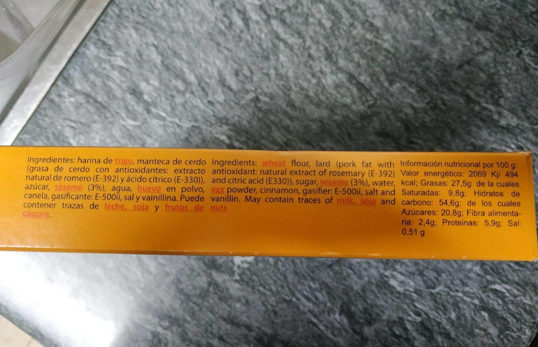 Delicias de ajonjolí - Información nutricional - es