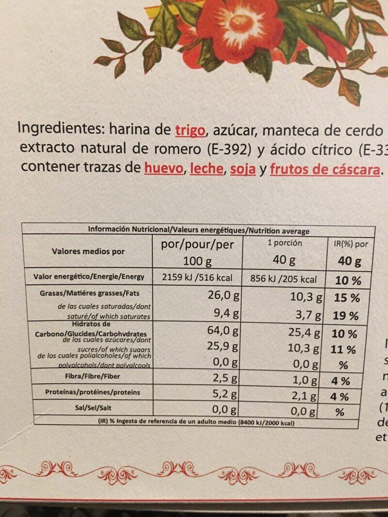Mantecados de artesanía - Información nutricional - es