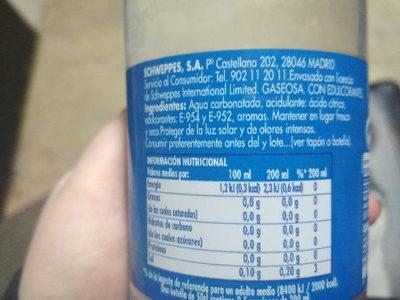 Gaseosa cero calorías - Ingredients - en