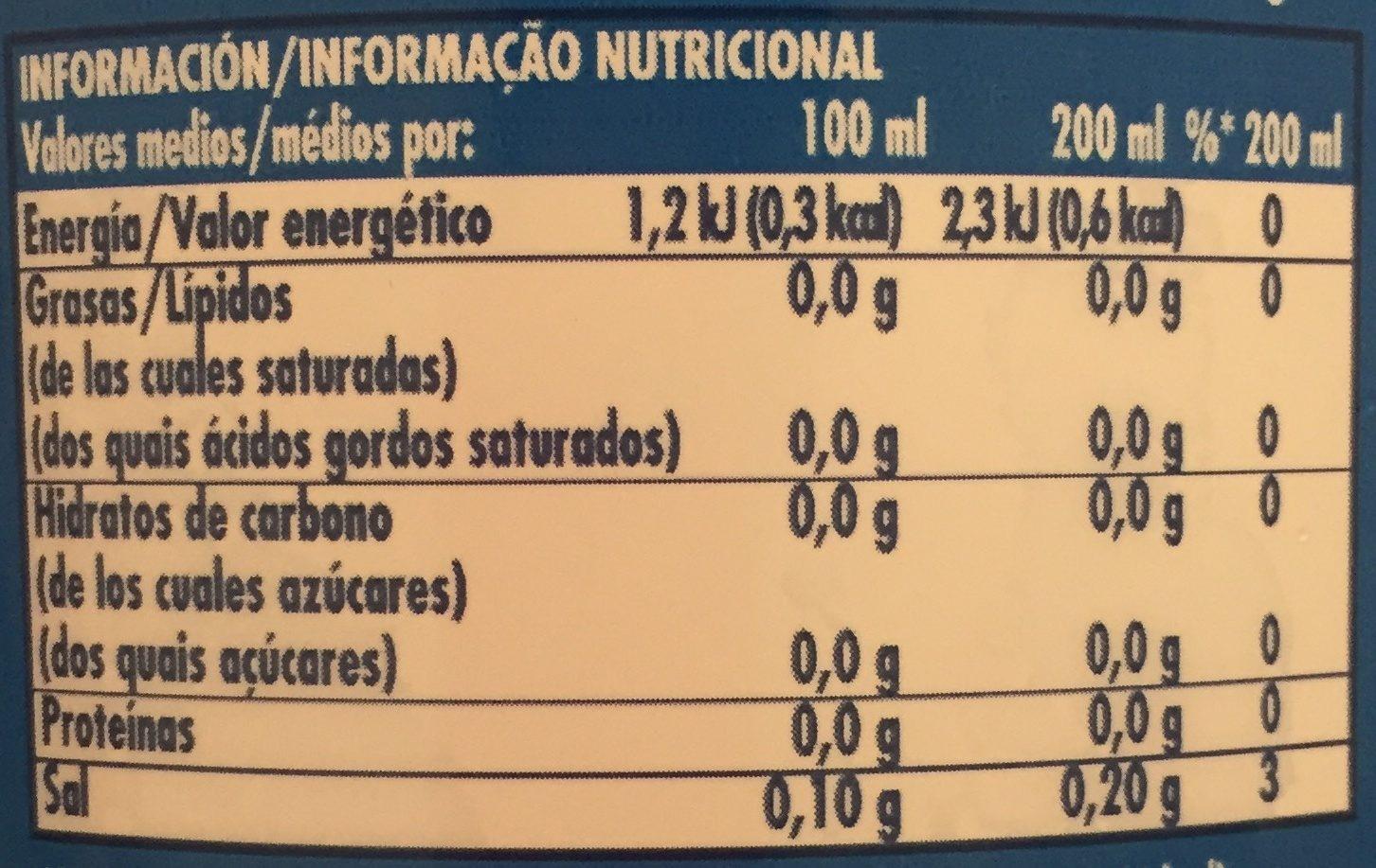 Limonade La Casera 0% - Información nutricional - es