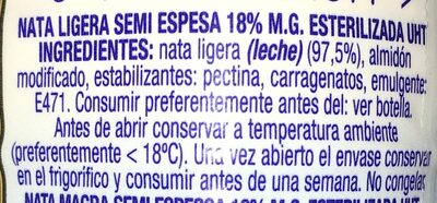 Nata cocina espesa (heavy cream) - Ingredients