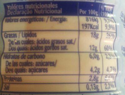 Nata cocina espesa (heavy cream) - Informació nutricional - es