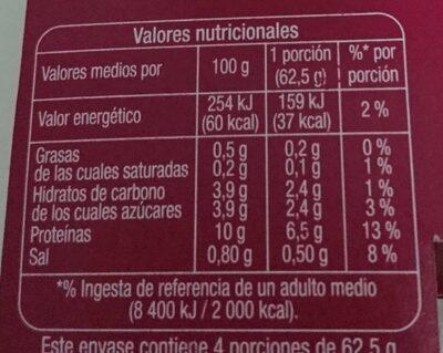Queso fresco 0% - Voedingswaarden - es