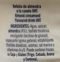 Bebida Almendra a la Canela - Ingredientes