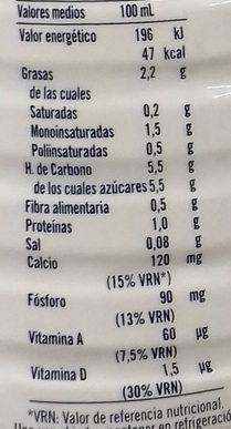 Bebida de almendra a la canela - Informations nutritionnelles - es
