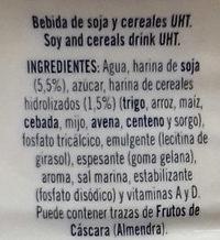 Bebida Soja y Cereales Caramelizados - Ingredientes
