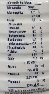 Bebida Soja y Cereales Caramelizados - Información nutricional