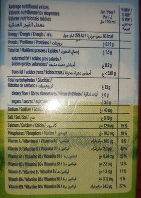 Riz boisson 100% végétale - Informations nutritionnelles - fr