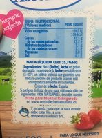Nata 35% Asturiana Esp. montar - Ingredients