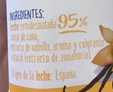 Batido de vainilla - Ingredients