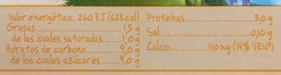 Batido de vainilla - Informació nutricional