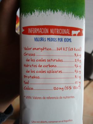 Leche entera - Nutrition facts