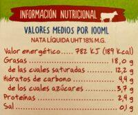 Nata para cocinar - Informació nutricional