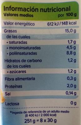 Nata de soja para cocinar vegetal - Información nutricional - es