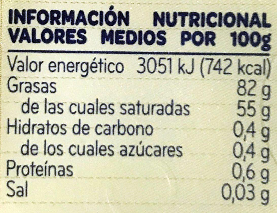 Mantequilla - Información nutricional