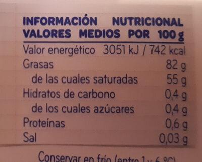 Mantequilla - Voedingswaarden - es