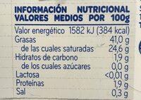 Mantequilla ligera Sin Lactosa - Informations nutritionnelles