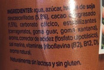 Batido de soja con chocolate - Ingredients