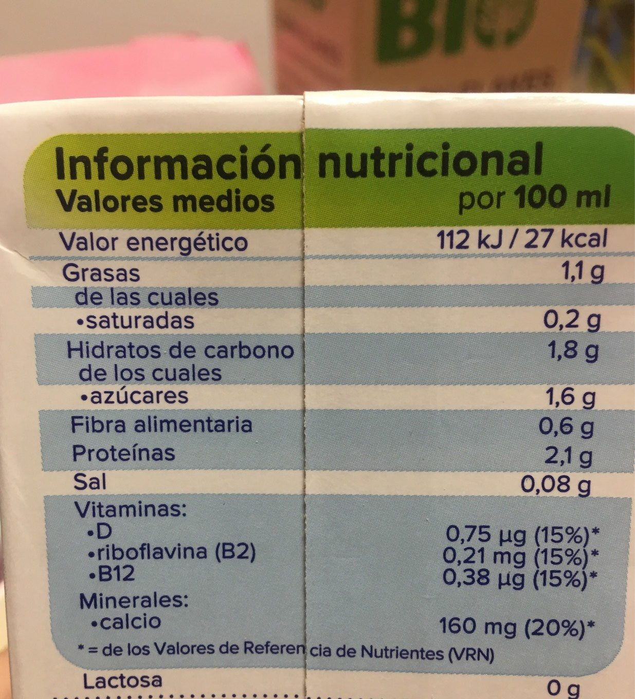 Alpro soja lijera - Nutrition facts