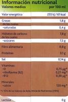 Bebida de soja Chocolate - Información nutricional