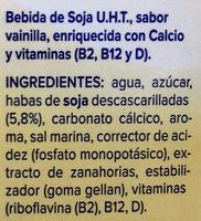 Bebida de soja sabor vainilla - Ingredientes - es