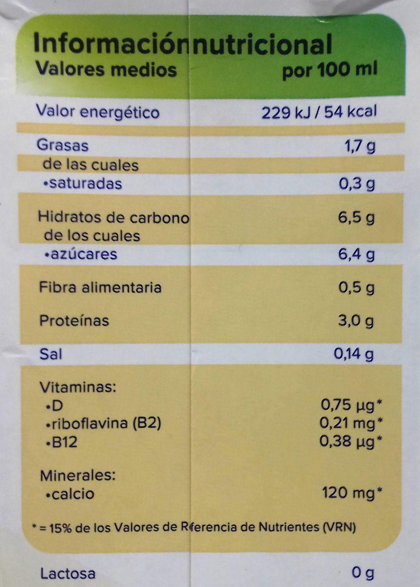 Bebida de soja sabor vainilla - Información nutricional - es