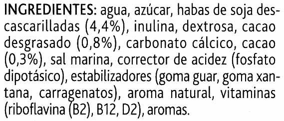 Alpro soja chocolate ligera - Ingredientes - es