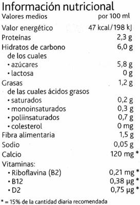 Alpro soja chocolate ligera - Información nutricional - es