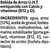Bebida de arroz sin azúcares añadidos bajo grasas - Ингредиенты - es