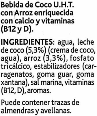 Bebida de coco sin azúcares añadidos bajo calorías - Ingrédients - es
