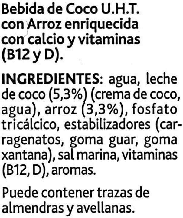 Bebida de coco sin azúcares añadidos bajo calorías - Ingredients