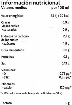 Bebida de coco sin azúcares añadidos bajo calorías - Nutrition facts