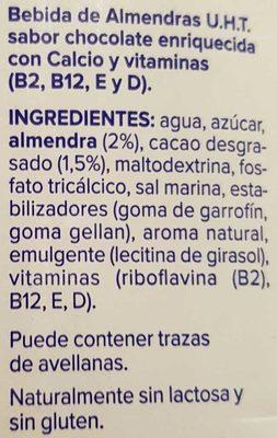 Bebida de almendras sabor chocolate - Ingredientes - es