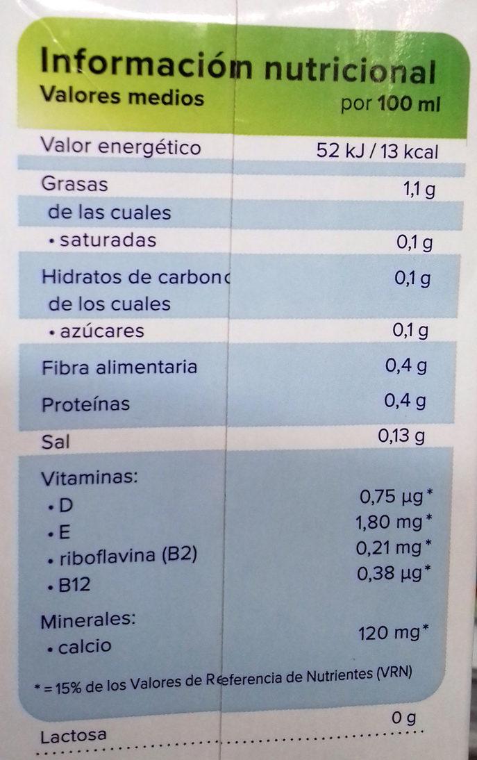 Bebida de almendras sin azúcar con antioxidante - Información nutricional