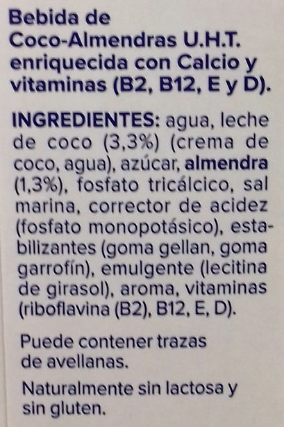 Bebida de Coco Almendras - Ingredients
