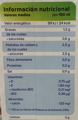 Bebida de Coco Almendras - Nutrition facts