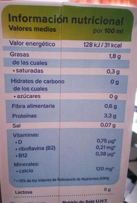 Soja sin azúcar - Informació nutricional