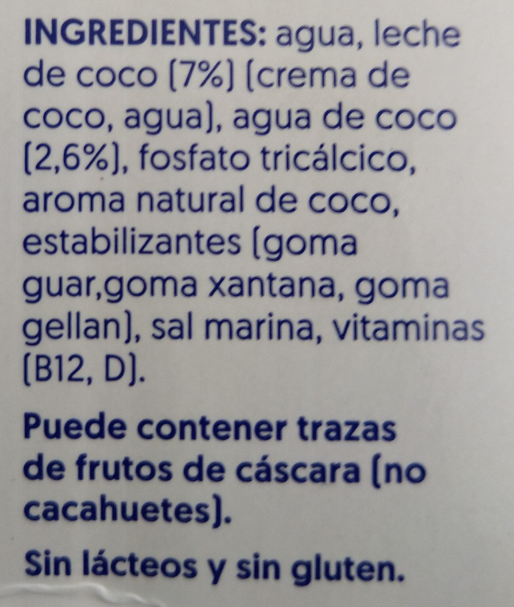 Leche de coco sin azúcar - Ingrédients - es