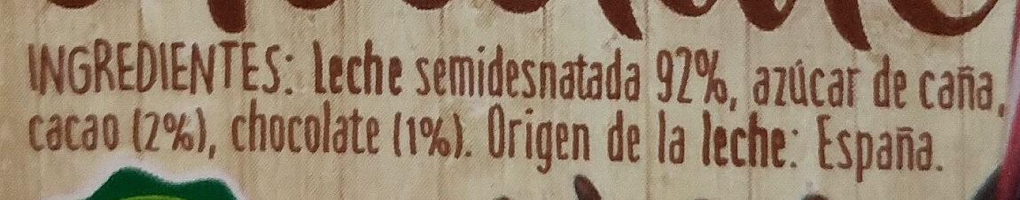 Batido de chocolate - Ingredients