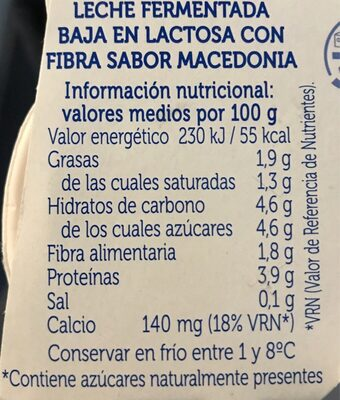 Yogur Sabor Macedonia - Nutrition facts