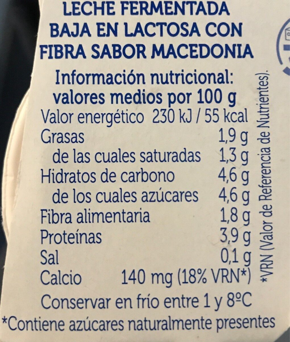 Yogur Sabor Macedonia - Nutrition facts
