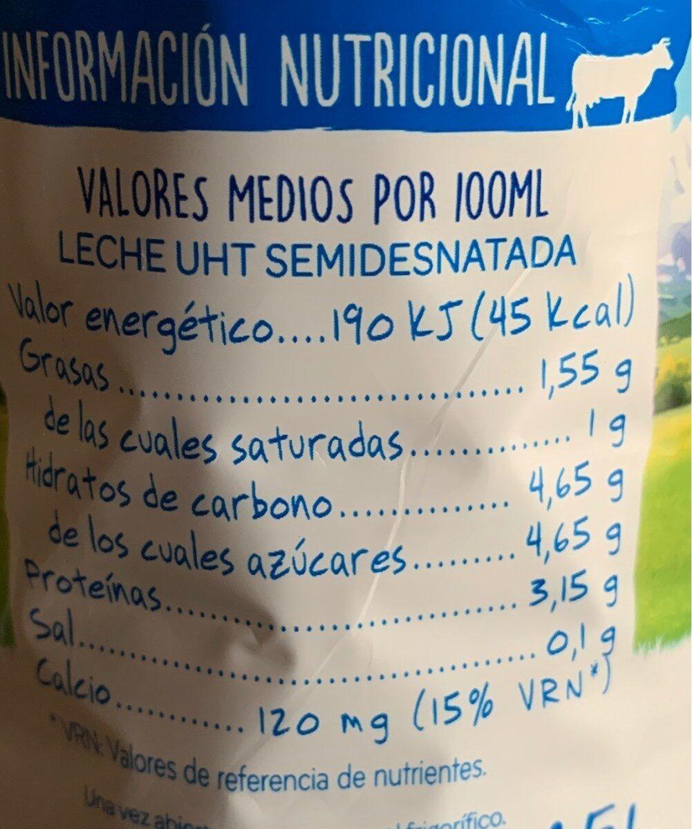 leche semidesnatada asturiana valor nutricional