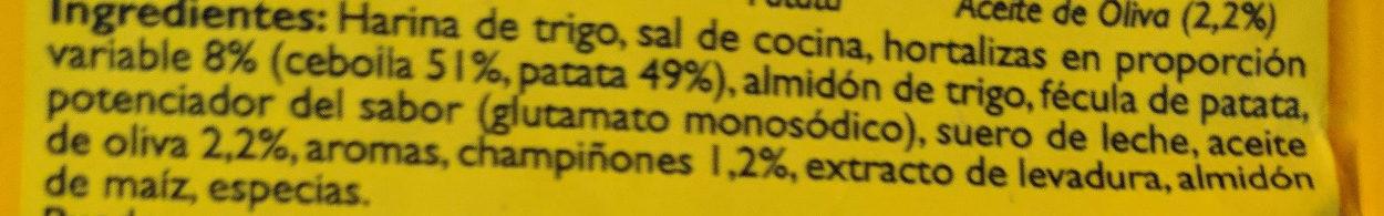 Crema de champiñones - Ingredientes - es