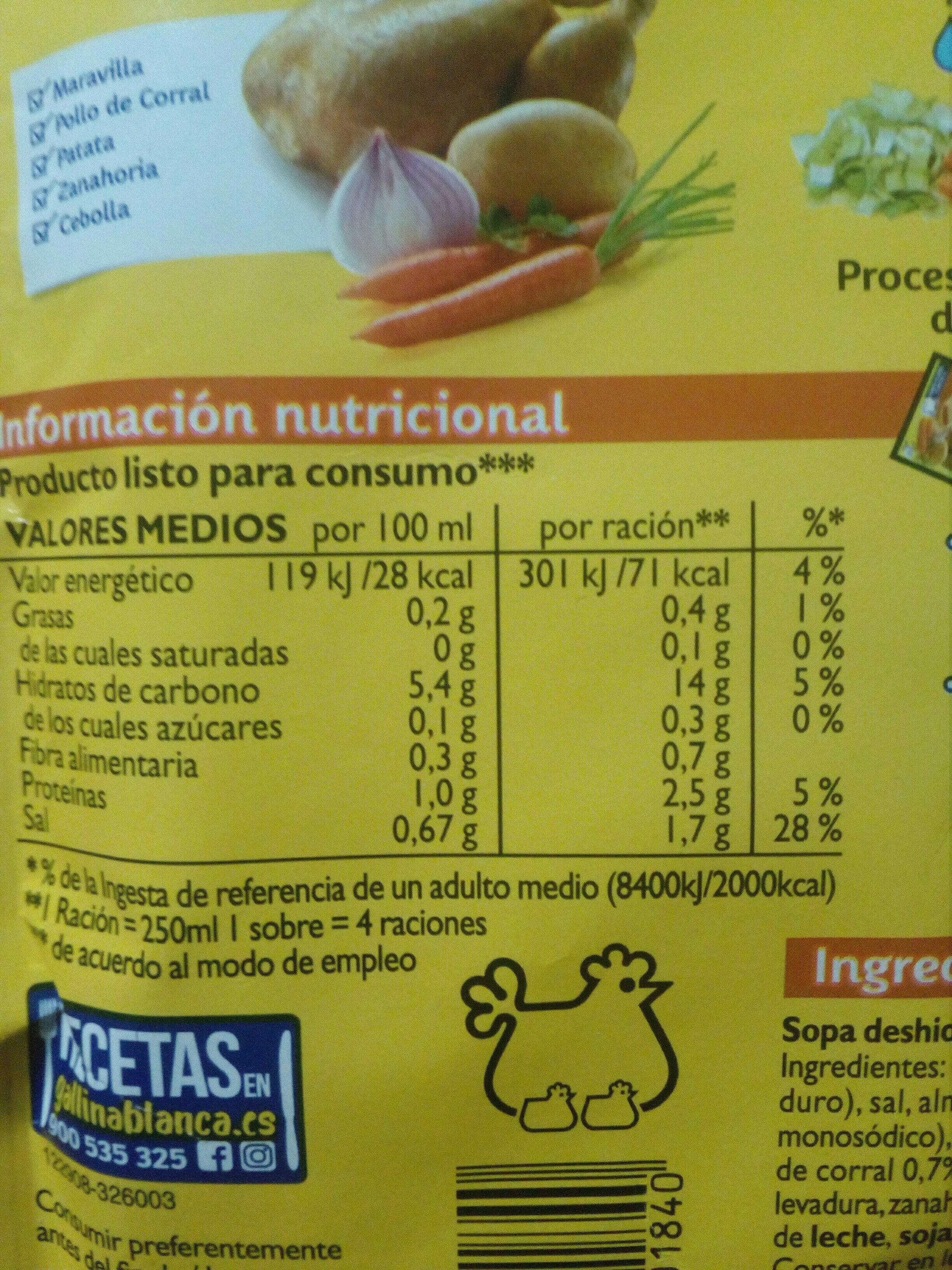 Sopa G. blanca Maravelles - Voedingswaarden
