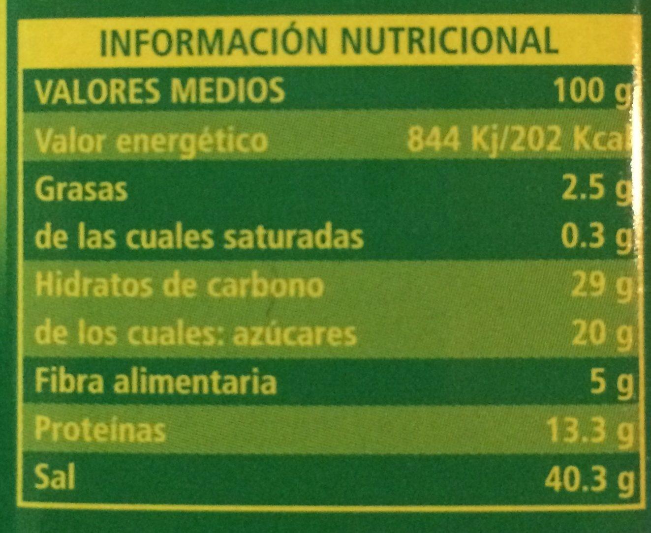 Avecrem - Informació nutricional