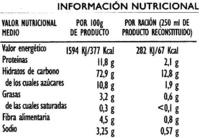 Crema de espárragos deshidratada - Informations nutritionnelles - es