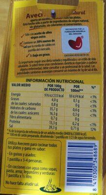 Avecrem pollo 100% natural - Información nutricional - es