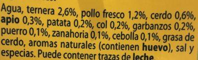 Caldo de cocido casero 100% natural envase 1 l - Ingredientes