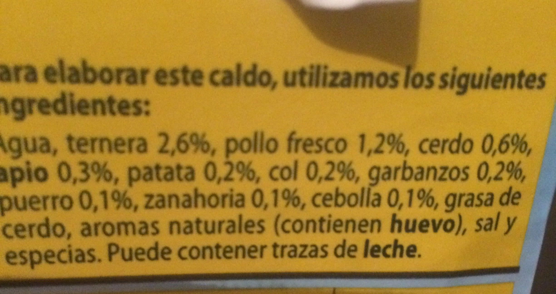 Caldo de cocido casero 100% natural envase 1 l - Ingrédients - fr